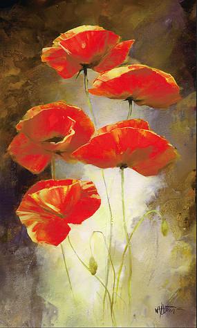 手绘玄关淡黄粉红色花朵