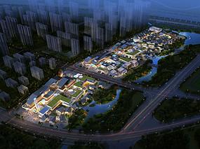 现代商业街区夜景鸟瞰图 JPG