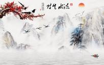 中式大型山水流水生财背景墙