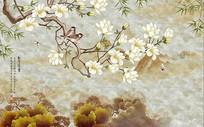 中式玉堂富貴花鳥大理石背景墻