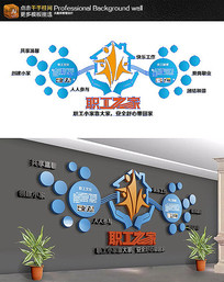 蓝色企业职工之家文化墙布置