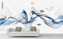 水墨抽象山水背景墙
