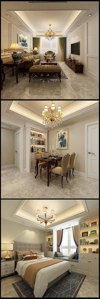 欧式客厅卧室效果图