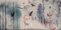 复古手绘油画森林梅花鹿背景墙