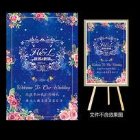 蓝底粉色花卉婚礼水牌
