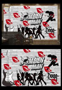 嘻哈摇滚音乐工装背景墙