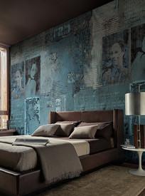 国外室内复古墙纸卧室