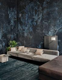 国外室内深蓝墙纸沙发