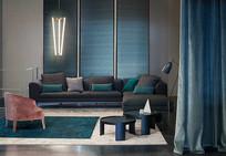 蓝色帘子元素客厅意向