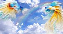 手绘蓝天白云金鱼彩虹背景墙