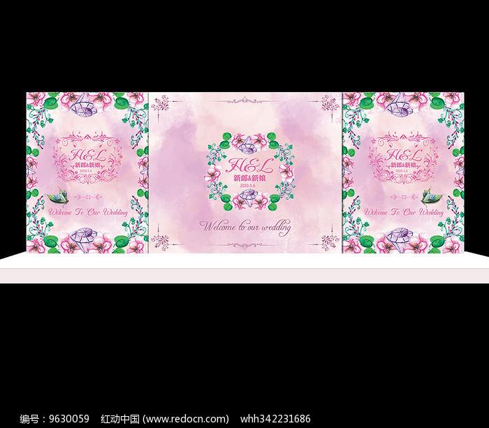 粉色花卉婚礼舞台背景设计图片