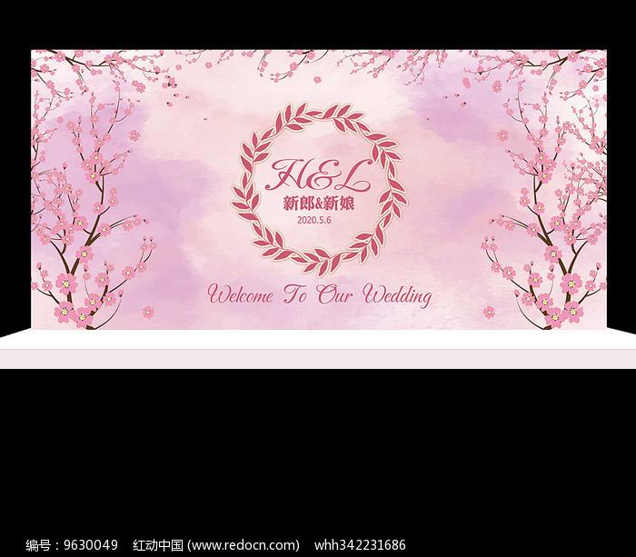 粉色花卉主题婚礼背景设计图片
