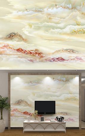 高端大气山水大理石电视背景墙
