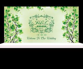 绿色小清新树叶婚礼背景设计