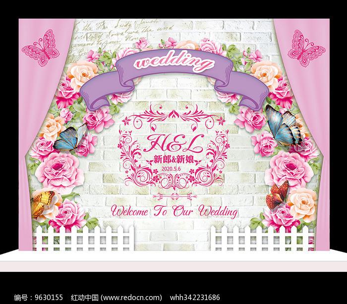时尚粉色花卉婚礼迎宾牌设计图片