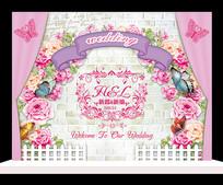 时尚粉色花卉婚礼迎宾牌设计