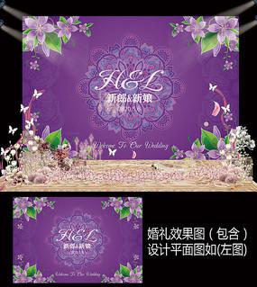 时尚紫色花卉婚礼迎宾甜品台背景