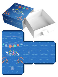 藍色月餅食品包裝禮盒模板