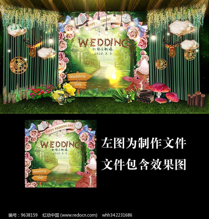爱丽丝森系婚礼展示牌设计图片