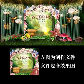 爱丽丝森系婚礼展示牌设计