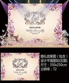 香槟金婚礼迎宾甜品台设计