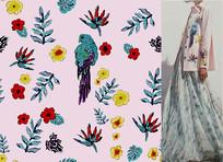 矢量花鸟草衣服印花图案