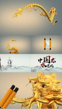 中国龙金龙卷轴打开ae模板