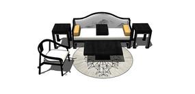 白色新中式沙发SU模型
