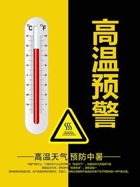 黄色高温预警海报