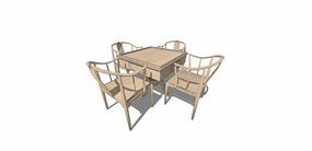 新中式餐桌SU模型