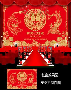 大红金色中式婚礼签到牌