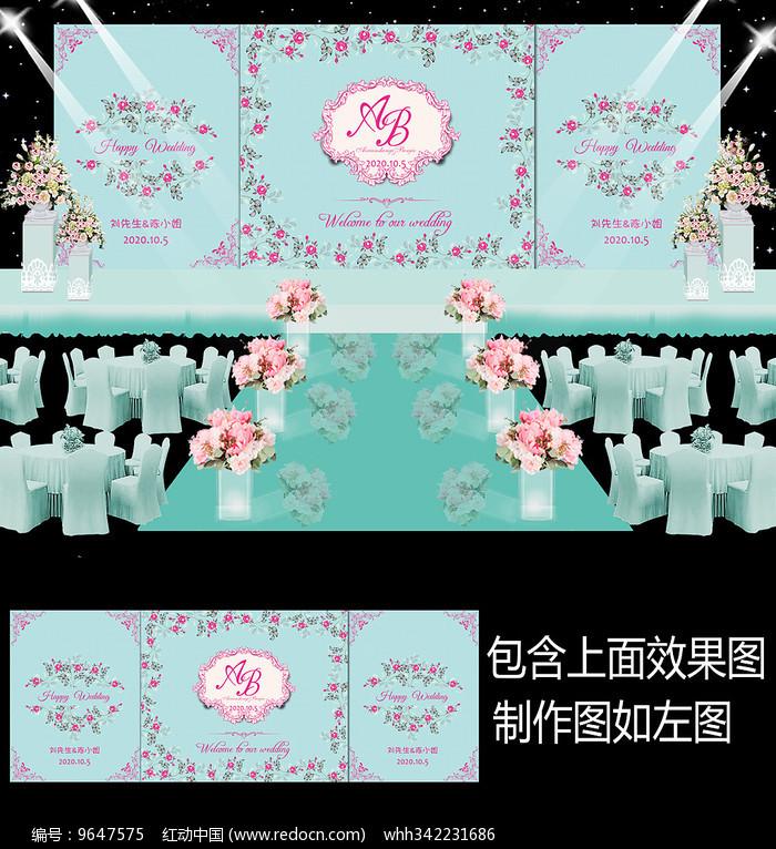 蒂芙尼粉色花卉婚礼迎宾牌图片