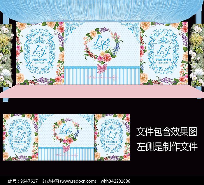 蓝粉花卉婚礼舞台背景设计图片