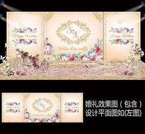 香槟金花卉婚礼舞台背景设计