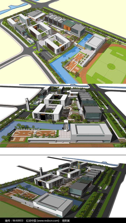 校园规划草图SU模型含CAD