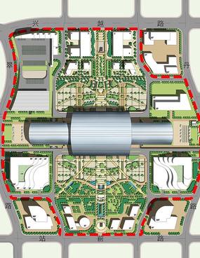交通组织规划绿地彩平图