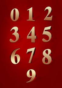 金色立体数字字体