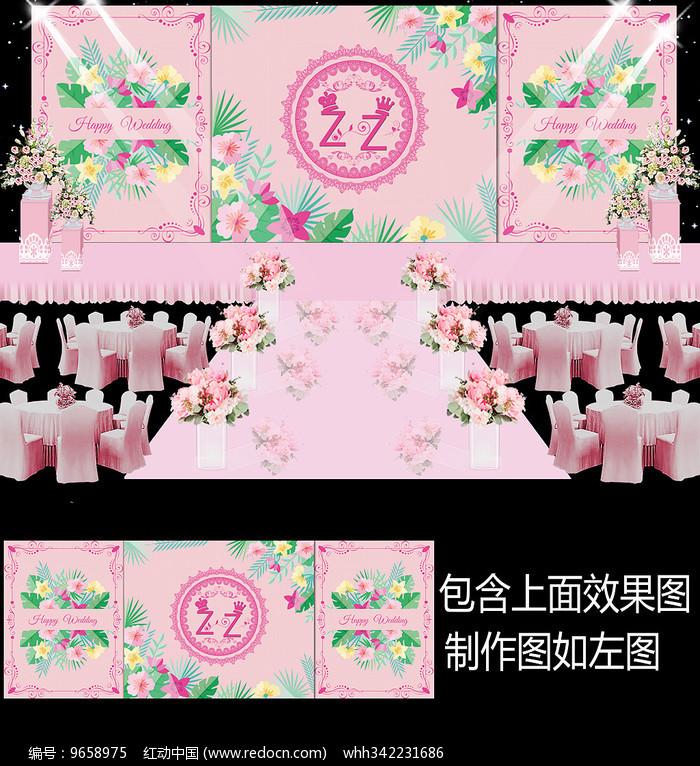 粉色花卉婚礼舞台背景图片
