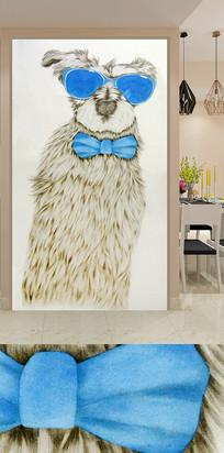 手绘卡通猫狗玄关背景墙