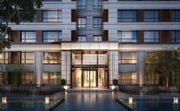 新中式住宅楼大门效果图