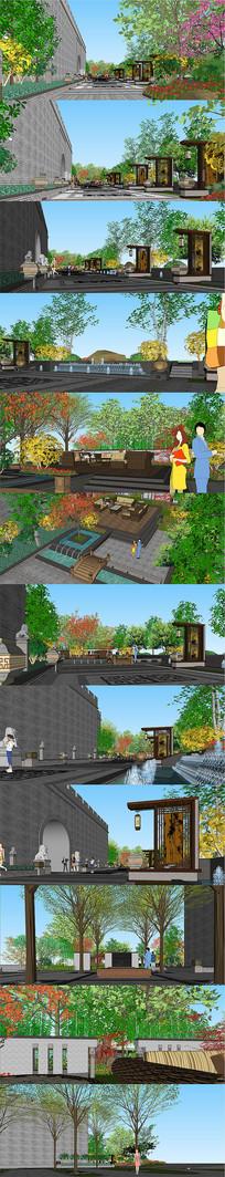 中式园林景观庭院设计SU模型