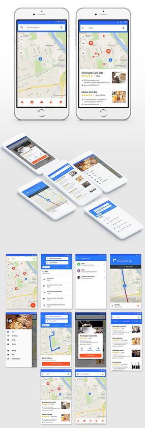 地图导航app界面设计 PSD