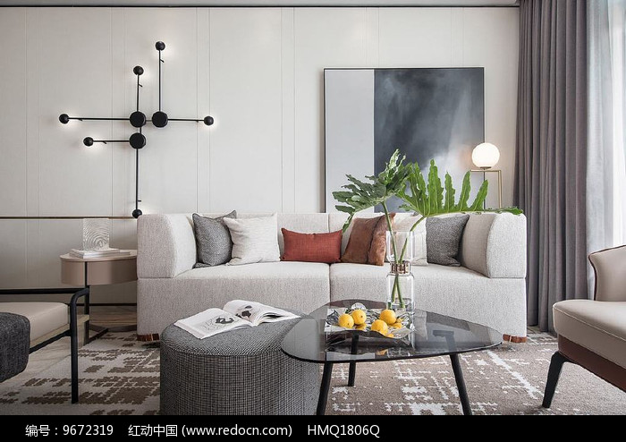 莫兰迪色客厅设计意向图图片
