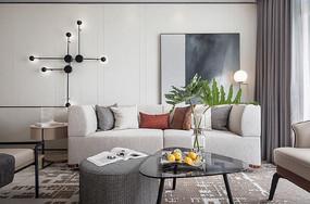 莫兰迪色客厅设计意向图