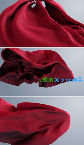 红色丝绸logo文字揭示模板