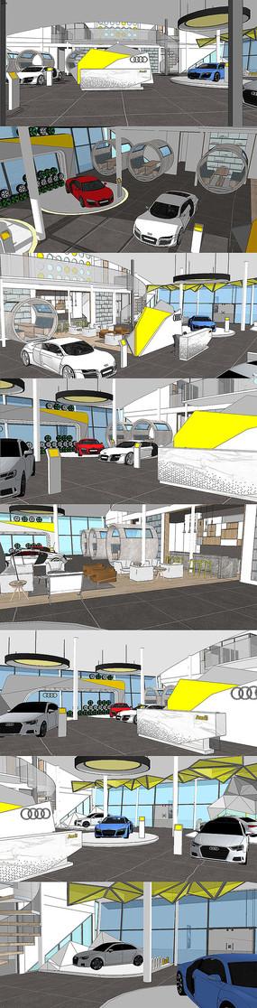 汽车展销大厅室内设计SU模型