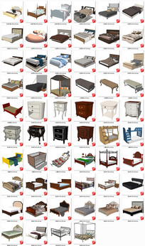 欧式卧室家具草图大师模型