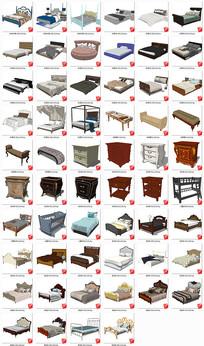现代欧式室内卧室家具SU