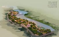 滨水公园鸟瞰素材图