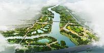 滨水景观鸟瞰素材图